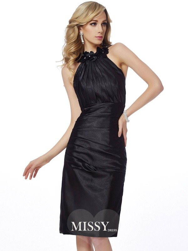 Sheath/Column Bateau Sleeveless Applique Knee-Length Elastic Woven Satin Dresses
