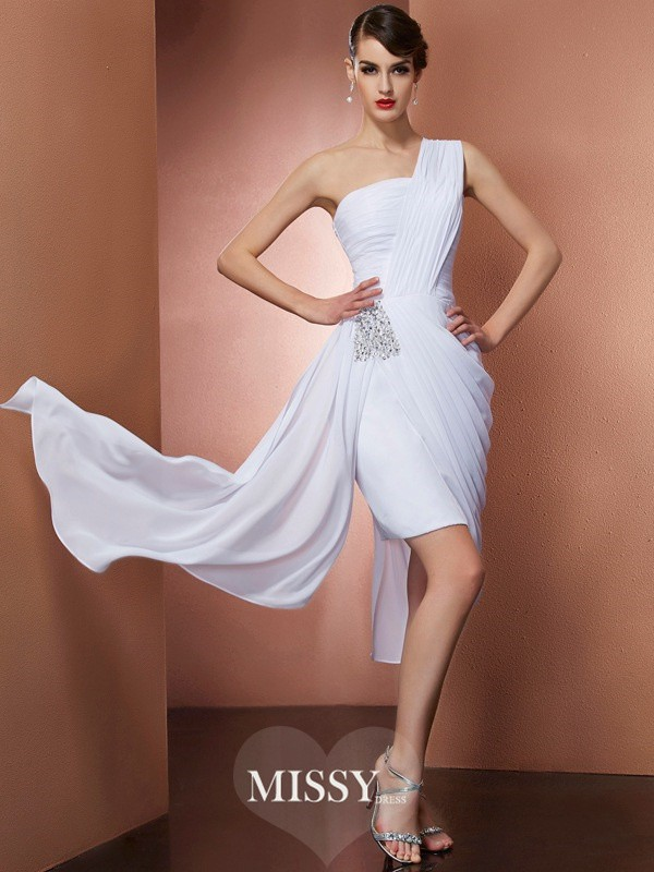 Sheath/Column One-Shoulder Sleeveless Pleats Beading Chiffon Short/Mini Dresses