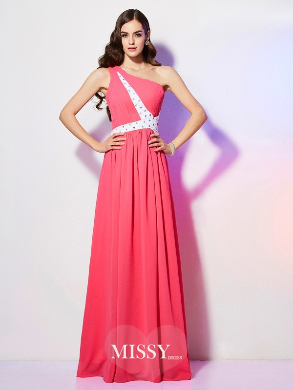 One-Shoulder Beading Sleeveless Long Chiffon Dresses