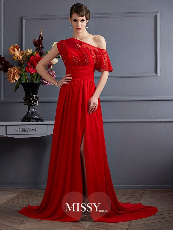 A-Line/Princess One-Shoulder Sleeveless Applique Chiffon Court Train Dress