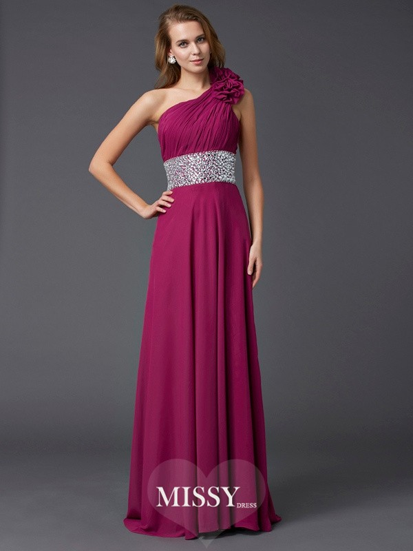 Sleeveless One-Shoulder Beading Sweep/Brush Train Chiffon Dresses