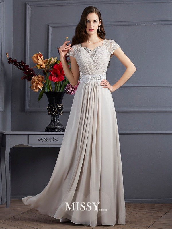A-Line/Princess Sweetheart Short Sleeves Beading Chiffon Floor-Length Applique Dress