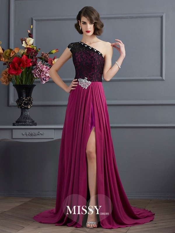 A-Line/Princess One-Shoulder Sleeveless Sweep/Brush Train Chiffon Dress