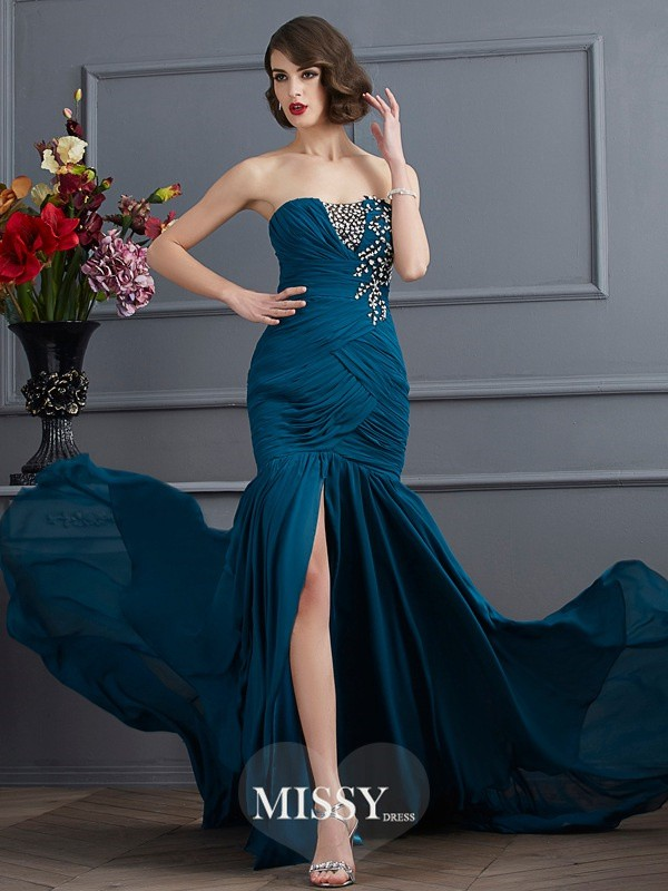 Trumpet/Mermaid Strapless Sleeveless Applique Sweep/Brush Train Chiffon Dress