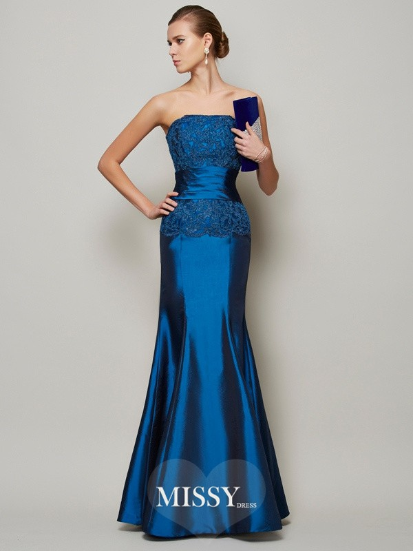 Trumpet/Mermaid Strapless Beading Applique Floor-Length Taffeta Dress