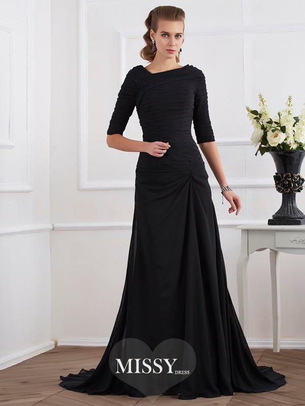 A-Line/Princess Chiffon 1/2 Sleeves Pleats Sweep/Brush Train Dress