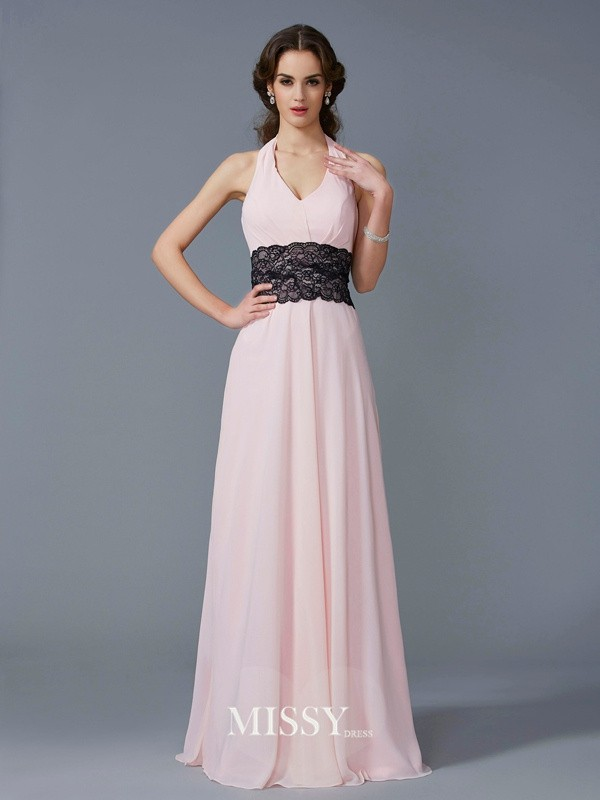 A-Line/Princess Halter Sleeveless Applique Floor-Length Chiffon Dress