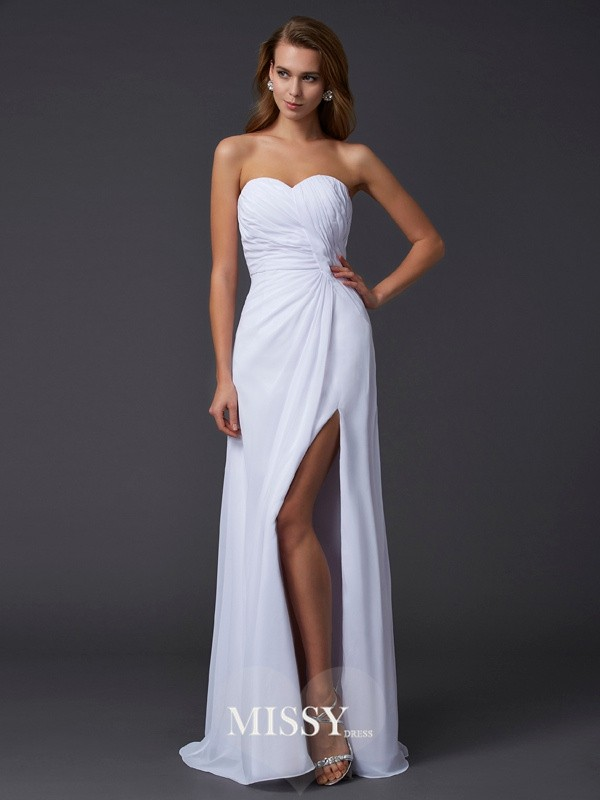 Sweetheart Sleeveless Pleats Floor-Length Chiffon Dress