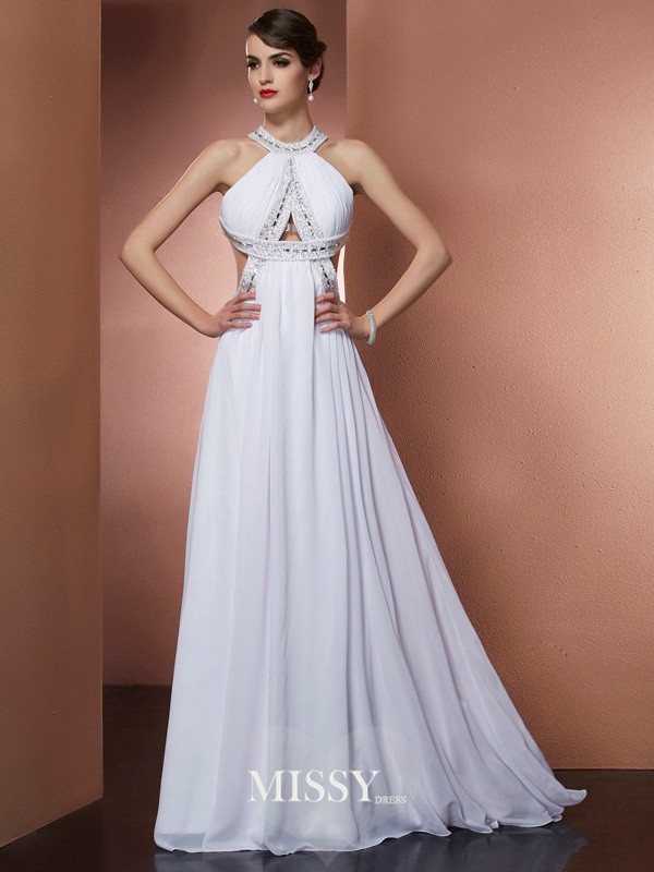 A-Line/Princess Bateau Sleeveless Beading Sweep Chiffon Dress