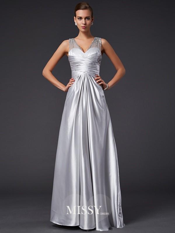 A-Line/Princess V-neck Floor-length Sleeveless Beading Elastic Woven Satin Dress