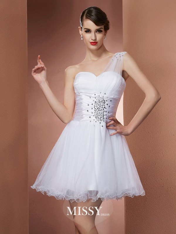 A-Line/Princess One-Shoulder Sleeveless Beading Short/Mini Satin Dress