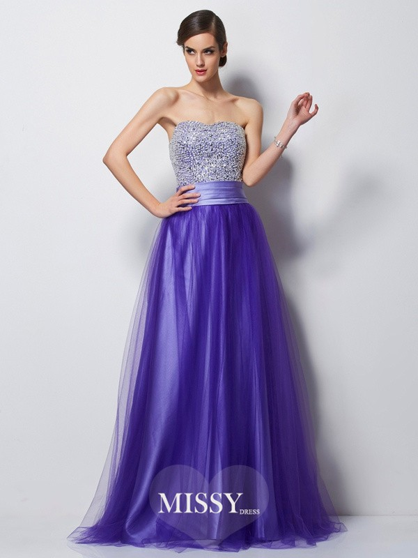 A-Line/Princess Sweetheart Sleeveless Beading Satin Floor-Length Dress