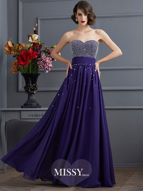 Princess Sleeveless Beading Floor-Length Chiffon Dress