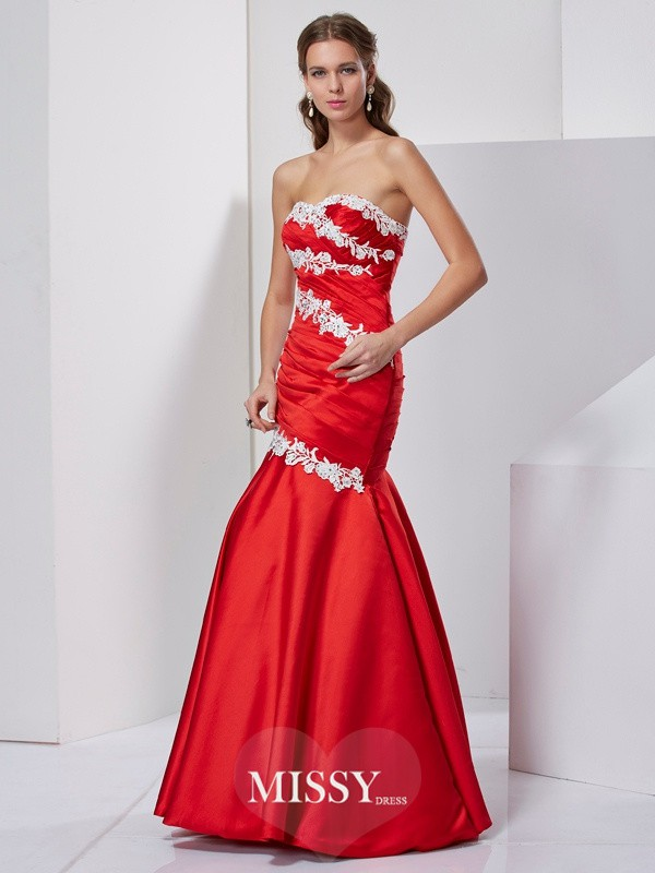 Trumpet/Mermaid Sleeveless Sweetheart Applique Satin Long Dresses