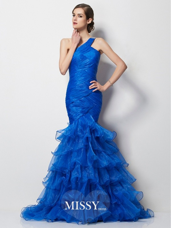 Trumpet/Mermaid One-Shoulder Sleeveless Pleats Sweep/Brush Train Tulle Dresses