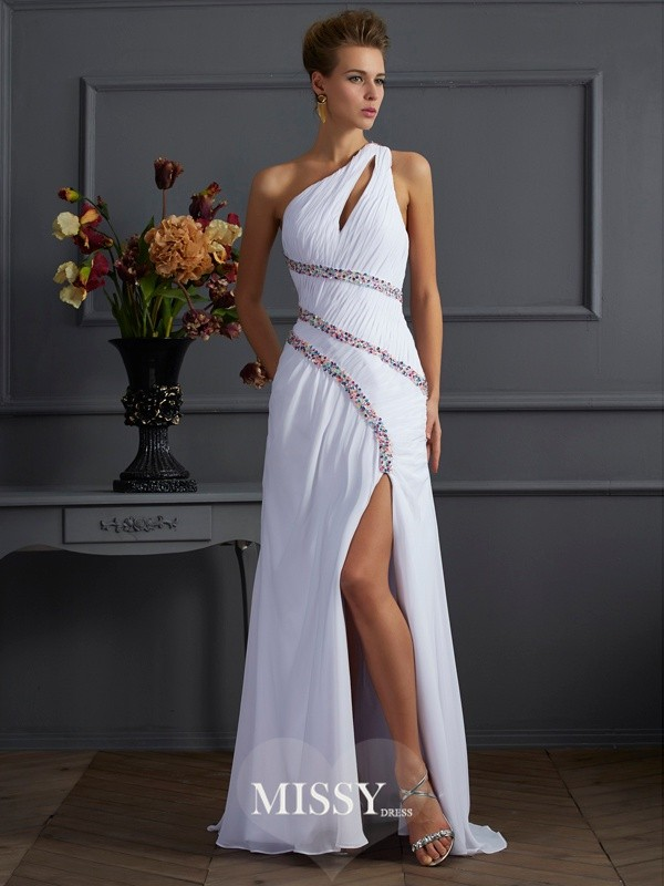 Sheath/Column Beading One-Shoulder Sleeveless Sweep Chiffon Dresses