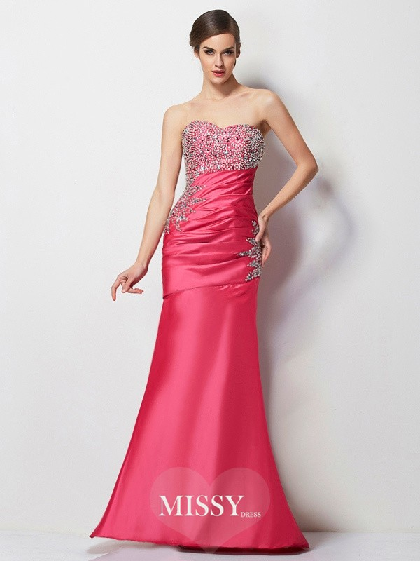 Trumpet/Mermaid Sweetheart Pleats Beading Long Taffeta Dresses
