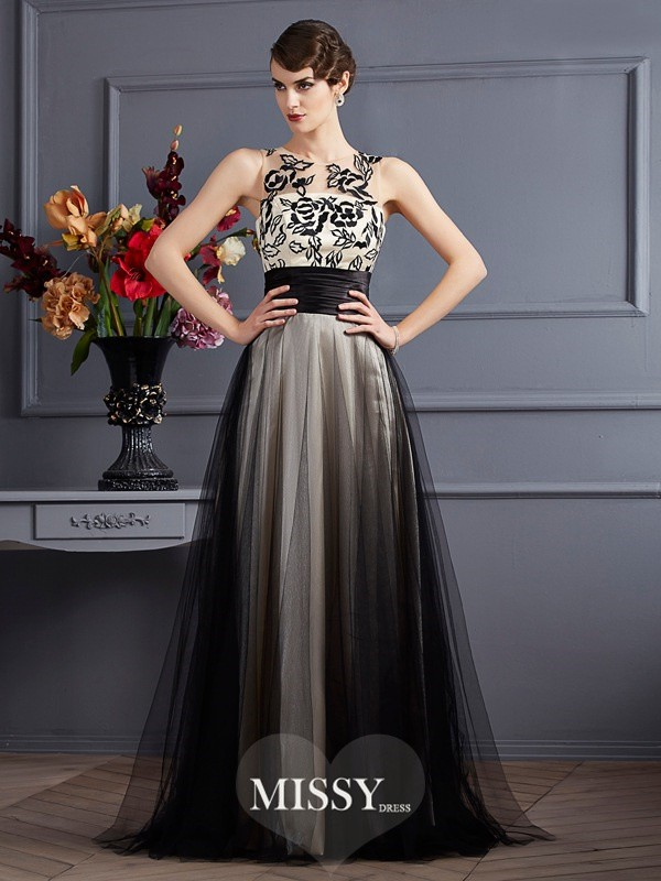 Princess Scoop Sleeveless Silk like Satin Floor-Length Dresses