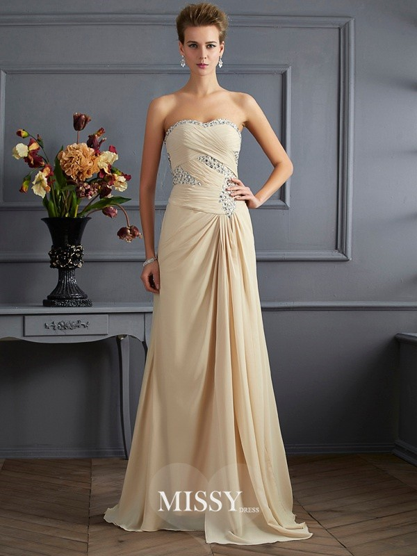Princess Sweetheart Beading Sleeveless Sweep Chiffon Dresses