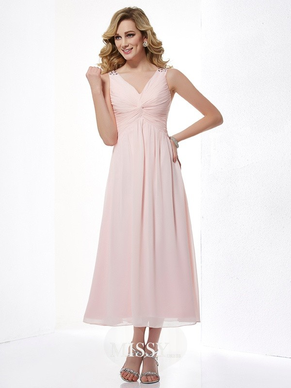 Princess Sleeveless V-neck Beading Pleats Chiffon Tea-Length Dresses