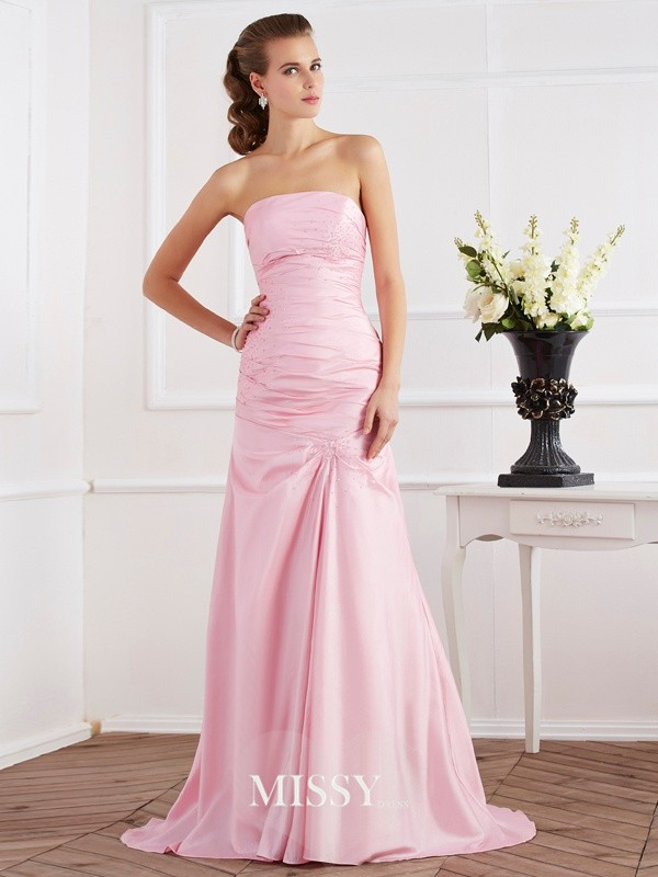 Trumpet/Mermaid Sleeveless Strapless Beading Taffeta Sweep Dresses