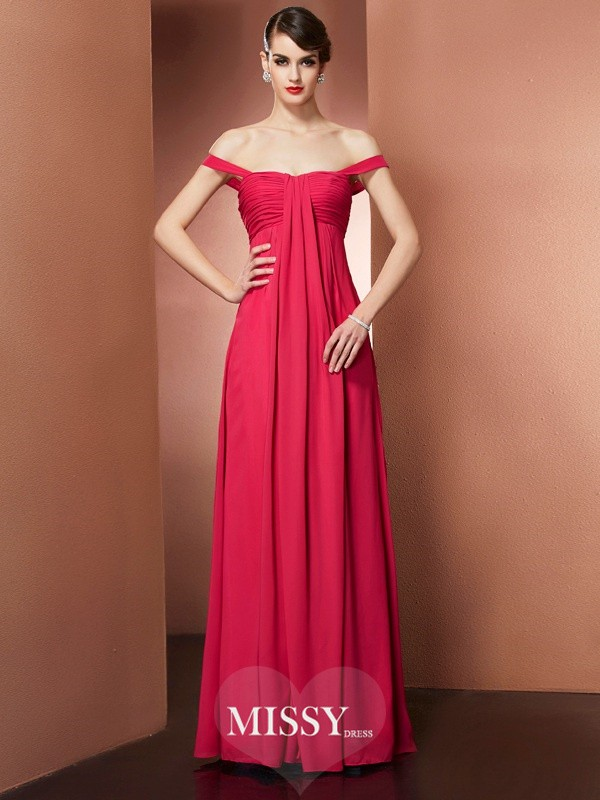 A-Line/Princess Off-the-Shoulder Sleeveless Pleats Floor-Length Chiffon Dress
