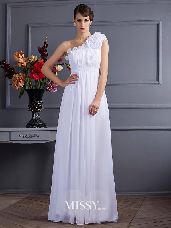 Princess Sleeveless Applique One-Shoulder Pleats Chiffon Floor-Length Dresses