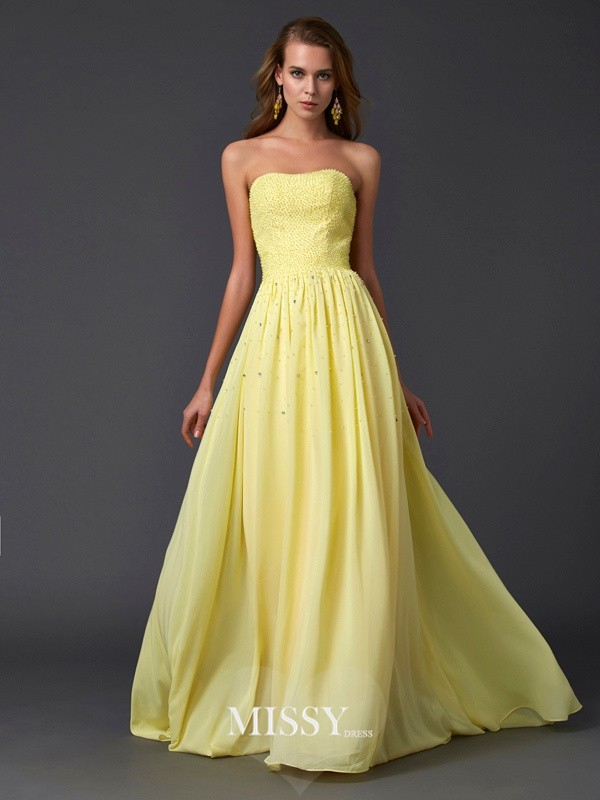 Princess Strapless Beading Pleats Sleeveless Chiffon Sweep/Brush Train Dresses