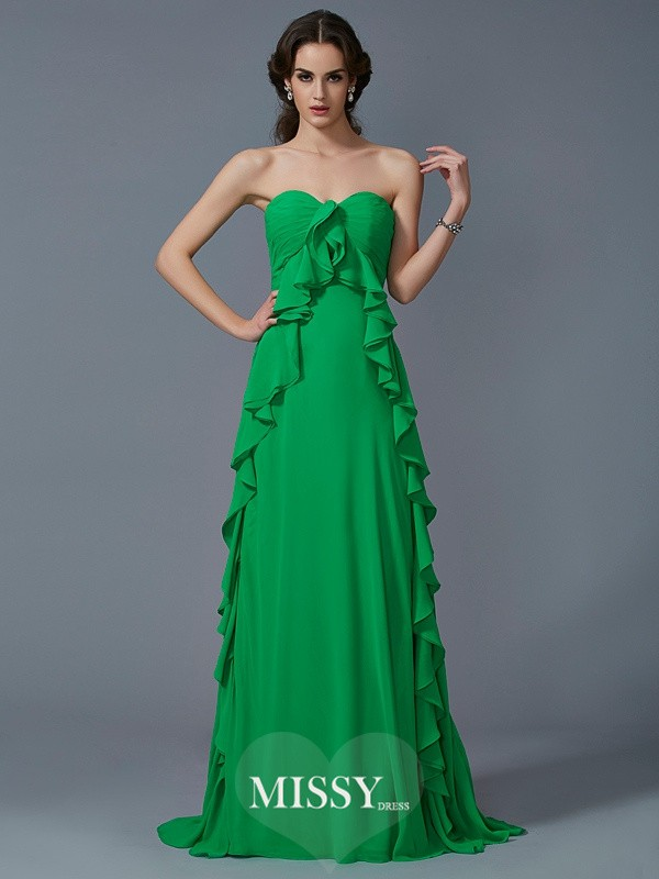 A-Line/Princess Sweetheart Sleeveless Ruffles Sweep Chiffon Dresses