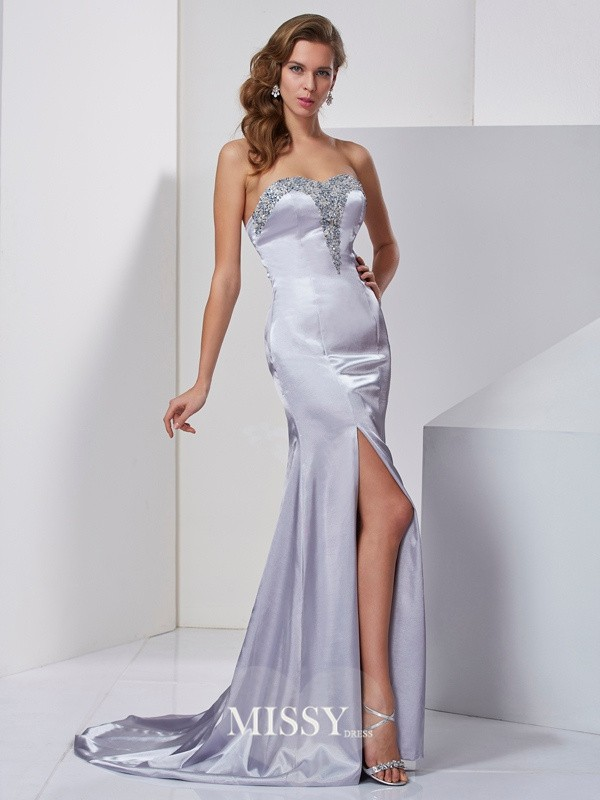 A-Line/Princess Sweep/Brush Train Sleeveless Beading Sweetheart Elastic Woven Satin Dress