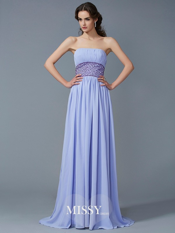 A-Line/Princess Strapless Sweep Sleeveless Beading Chiffon Dresses