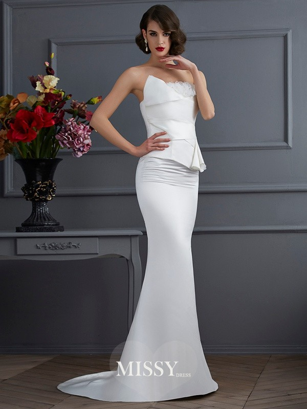 Trumpet/Mermaid Strapless Sleeveless Hand-Made Flower Brush Train Satin Dresses