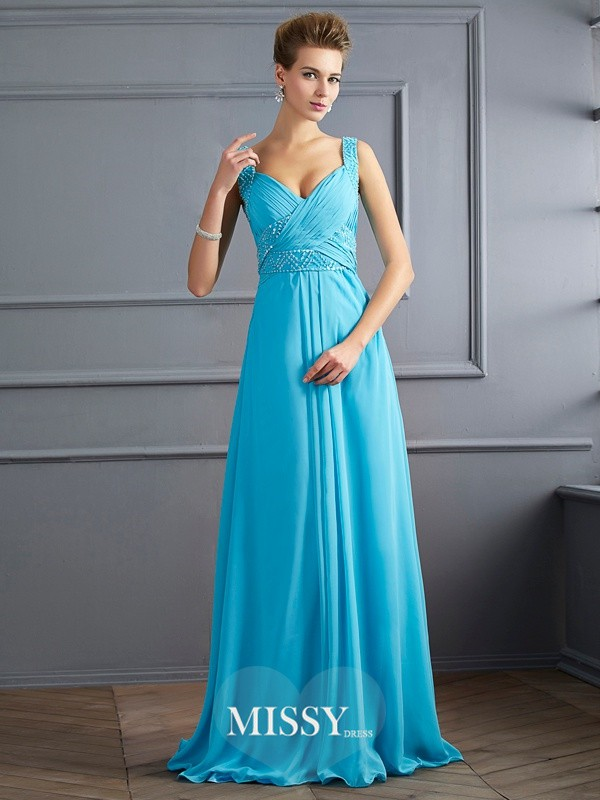 A-Line/Princess Straps Pleats Sleeveless Floor-Length Chiffon Dresses