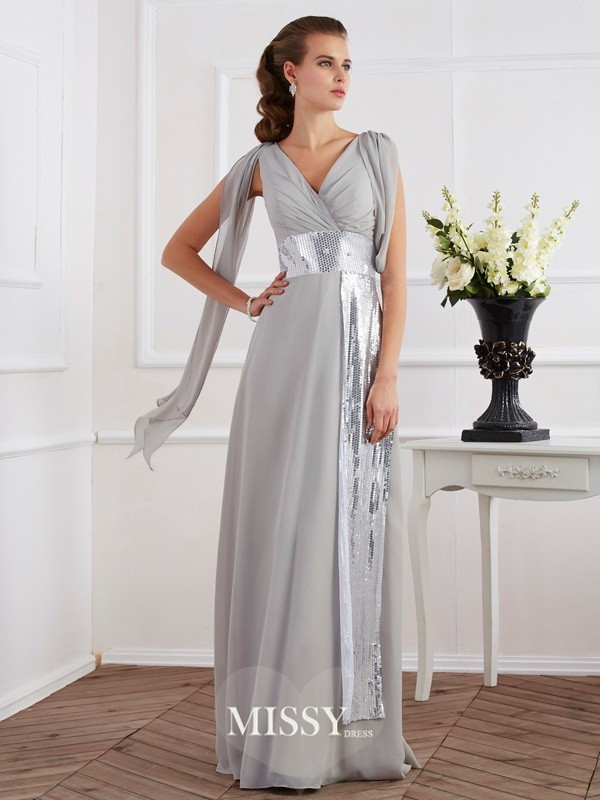 Sheath/Column V-neck Short Sleeves Floor-Length Chiffon Dresses