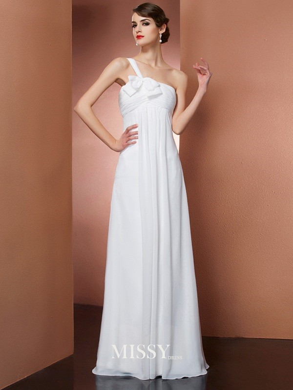 A-Line One-Shoulder Sleeveless Bowknot Floor-Length Chiffon Dresses