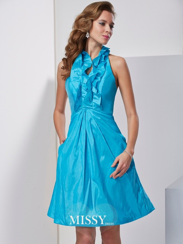 Princess Halter Ruffles Sleeveless Knee-Length Taffeta Dresses