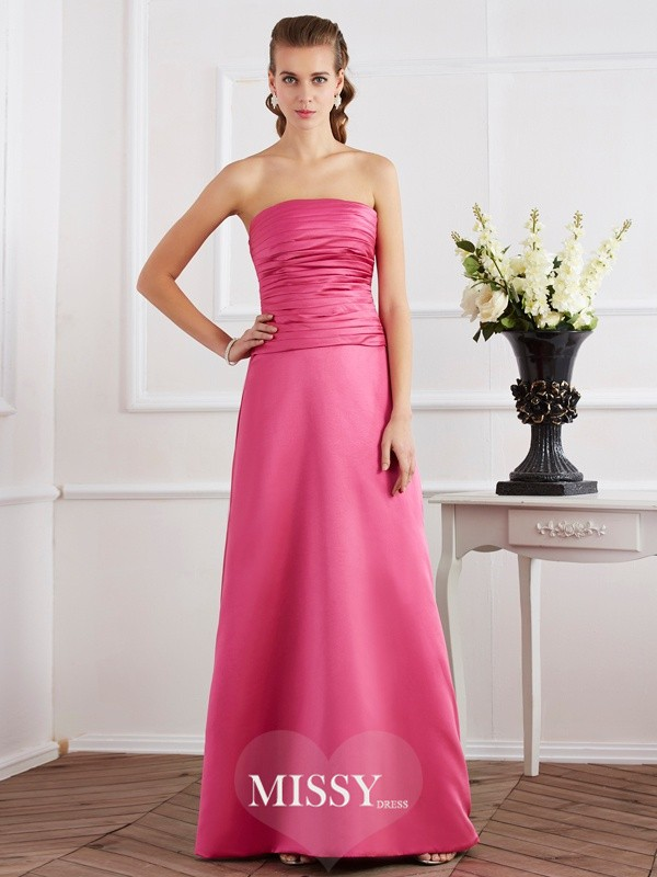 Sheath/Column Strapless Pleats Sleeveless Floor-Length Satin Dresses