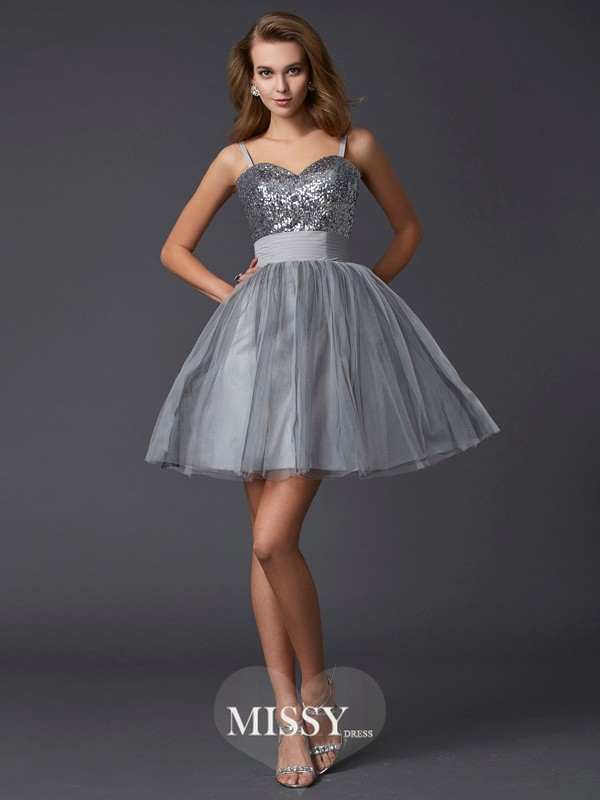 A-Line/Princess Spaghetti Straps Sleeveless Organza Short/Mini Dress