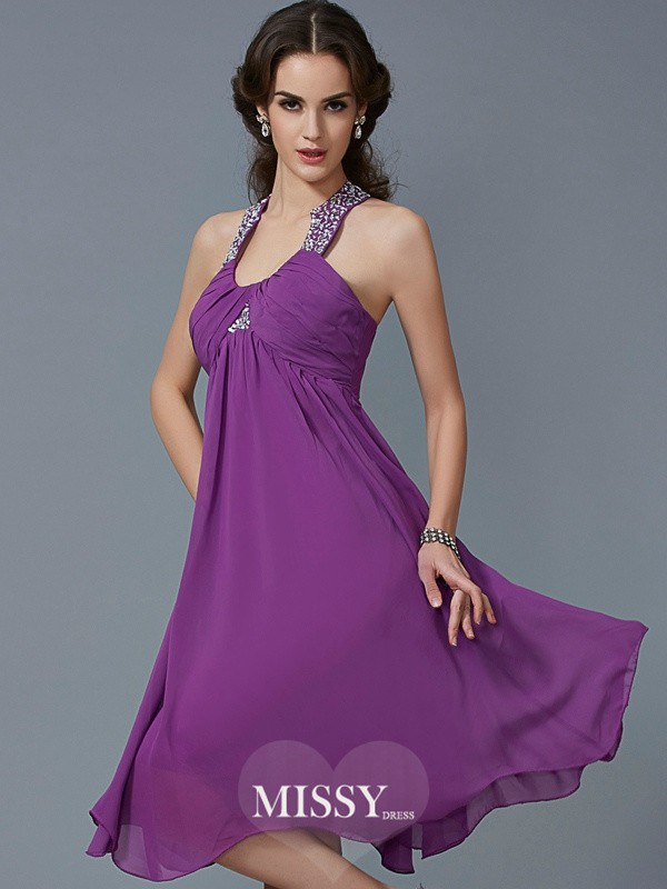 A-Line/Princess Halter Beading Sleeveless Knee-Length Chiffon Dress