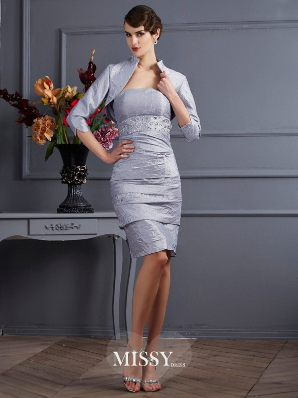 Sheath/Column Taffeta Strapless Sleeveless Knee-Length Dress