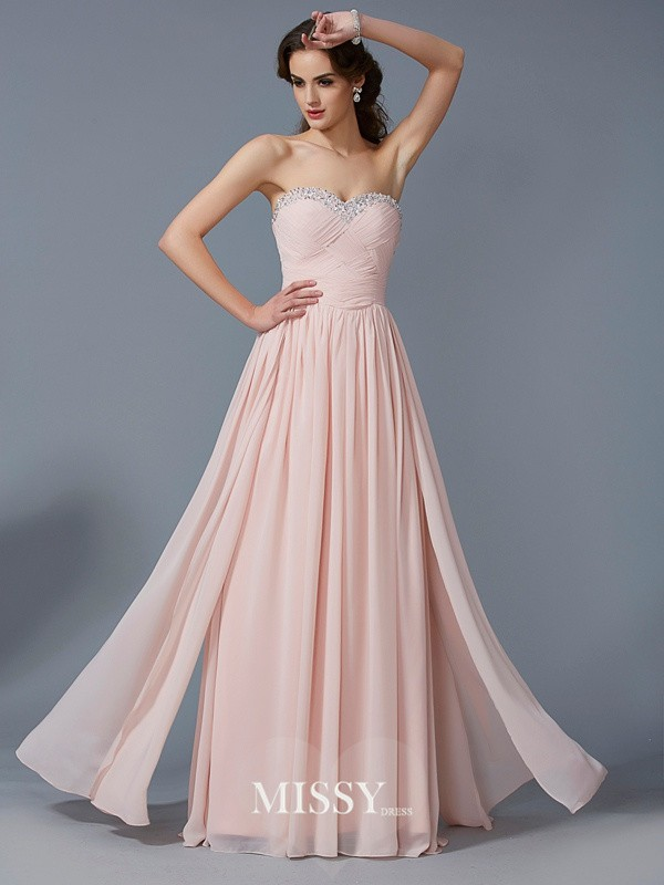 Sweetheart Sleeveless Floor-Length Chiffon Dress