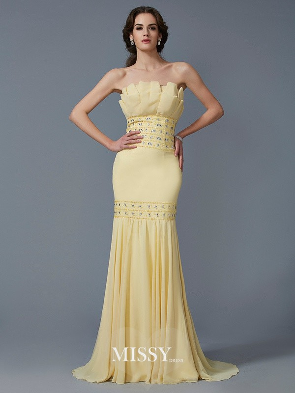 Trumpet/Mermaid Strapless Sleeveless Beading Sweep/Brush Train Chiffon Dress