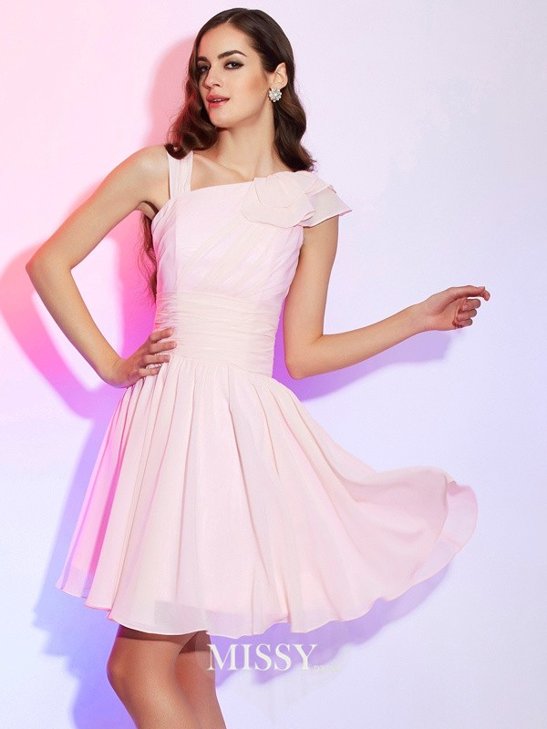 A-Line/Princess Pleats Sleeveless Short/Mini Chiffon Dress