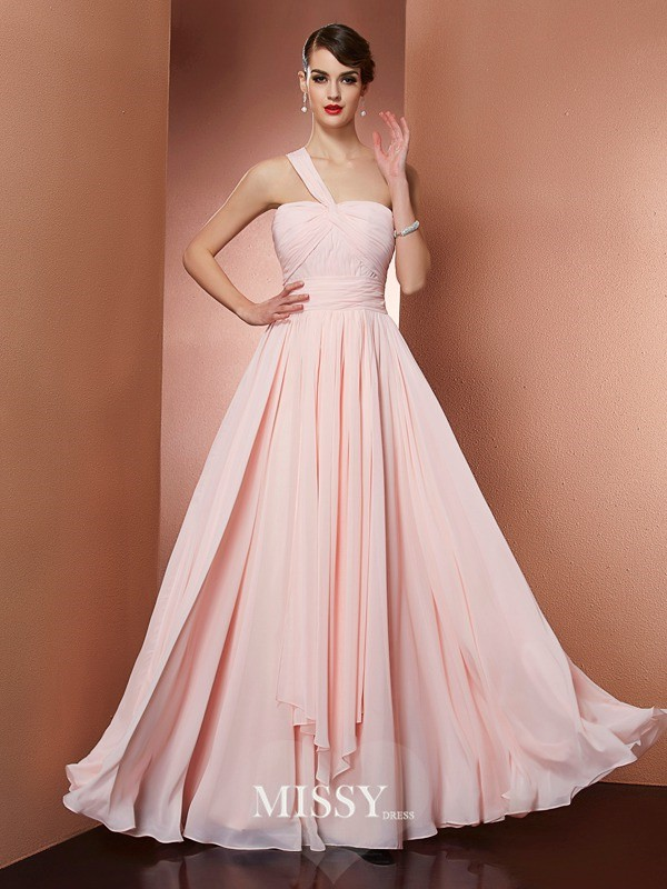 A-Line/Princess One-Shoulder Sleeveless Pleats Chiffon Floor-Length Dress