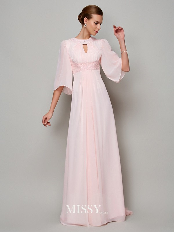 A-Line/Princess 1/2 Sleeves High Neck Beading Sweep/Brush Train Chiffon Dress