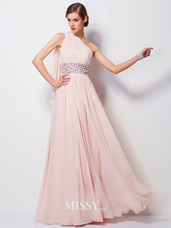 Sheath/Column One-Shoulder Sleeveless Floor-Length Chiffon Dress