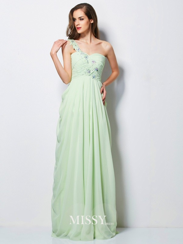 A-Line/Princess One-Shoulder Sleeveless Applique Floor-Length Chiffon Dress