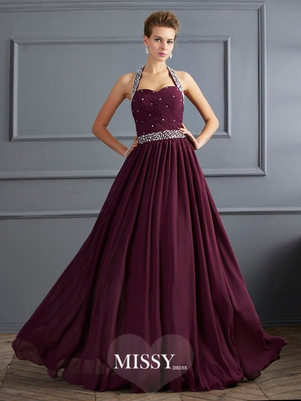 Sheath/Column Halter Sleeveless Beading Floor-Length Chiffon Dress