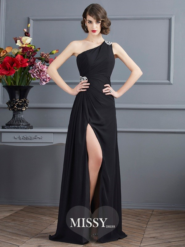 Sheath/Column One-Shoulder Sleeveless Beading Floor-Length Dress