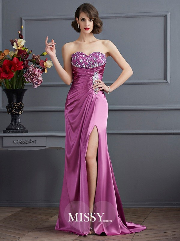 Sheath/Column Sweetheart Sleeveless Beading Sweep/Brush Train Elastic Woven Satin Dress